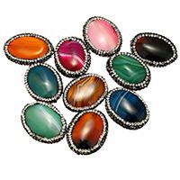 Achat Perlen, Lehm pflastern, mit Achat, natürlich, mit Strass & gemischt, 19-23x26-29x6-8mm, Bohrung:ca. 1mm, 10PCs/Tasche, verkauft von Tasche