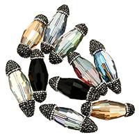 Kristall-Perlen, Kristall, mit Ton, facettierte & gemischt, 15-18x40-55x15-18mm, Bohrung:ca. 1mm, 10PCs/Menge, verkauft von Menge