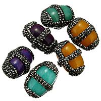 gefärbte Jade Perle, mit Ton, gemischt, 19-21x25-27x17-19mm, Bohrung:ca. 1mm, 10PCs/Menge, verkauft von Menge