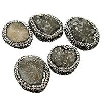 Natürliche Eis Quarz Achat Perlen, Eisquarz Achat, mit Ton, druzy Stil & gemischt, 20-23x25-27x9-14mm, Bohrung:ca. 1mm, 10PCs/Menge, verkauft von Menge
