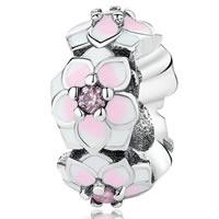 925 Sterling Silber Perlen, Blume, silberfarben plattiert, Emaille & mit Strass, 5x11mm, Bohrung:ca. 6.5mm, verkauft von PC