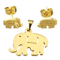Edelstahl Schmucksets, Anhänger & Ohrring, Elephant, goldfarben plattiert, für Frau, 22x17mm, 10x6mm, Bohrung:ca. 3x5mm, verkauft von setzen