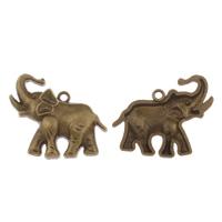 Zink-Aluminium-Anhänger, Zinklegierung, Elephant, antike Bronzefarbe plattiert, frei von Blei & Kadmium, 35x24x2mm, Bohrung:ca. 1mm, verkauft von PC