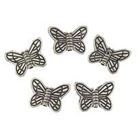Zinklegierung Tier Perlen, Schmetterling, antik silberfarben plattiert, frei von Blei & Kadmium, 14x11x3mm, Bohrung:ca. 1mm, 50PCs/Tasche, verkauft von Tasche