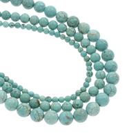 Türkis Perlen, Natürliche Türkis, rund, verschiedene Größen vorhanden, Bohrung:ca. 1mm, verkauft per ca. 14.5 ZollInch Strang