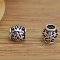 Messing hohle Perlen, Trommel, antik silberfarben plattiert, frei von Blei & Kadmium, 6.2x6mm, Bohrung:ca. 2.5mm, 10PCs/Tasche, verkauft von Tasche