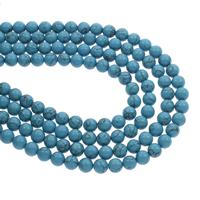 Synthetische Türkis Perle, rund, blau, 8mm, Bohrung:ca. 1mm, ca. 48PCs/Strang, verkauft per ca. 14.5 ZollInch Strang
