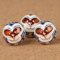 925 Sterling Silber Perlen, rund, Epoxy Aufkleber, 12.4mm, Bohrung:ca. 2-3mm, verkauft von PC