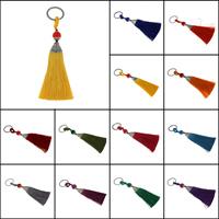 Schlüsselanhänger, Polyester, mit 304 Edelstahl & Zinklegierung & Acryl, plattiert, handgefertigt, keine, 20x146x14mm, Innendurchmesser:ca. 22mm, 10SträngeStrang/Tasche, verkauft von Tasche
