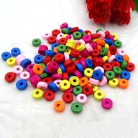 Holzperlen, Holz, Spritzlackierung, gemischt, farbenfroh, 3x8mm, Bohrung:ca. 1.5mm, ca. 5500PCs/Tasche, verkauft von Tasche