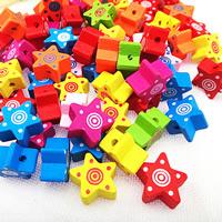 Holzperlen, Holz, Spritzlackierung, verschiedene Muster für Wahl & gemischt, farbenfroh, 15mm, Bohrung:ca. 1.5mm, verkauft von Tasche