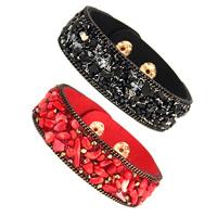 Edelstein Armbänder, Baumwollsamt, mit Edelstein & Zinklegierung, plattiert, für Frau, keine, 20mm, verkauft per ca. 8 ZollInch Strang