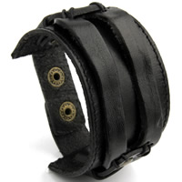 Rindsleder Armband, Kuhhaut, mit Zinklegierung, unisex, keine, 220x44mm, verkauft per ca. 8.5 ZollInch Strang