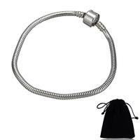 Edelstahl Europa Armband-Schnur, mit Baumwollsamt, unterschiedliche Länge der Wahl & Schlangekette, originale Farbe, 3mm, 20x10x10mm, verkauft von Strang