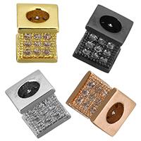 Zirkonia Micro Pave Messing Europa Bead, Würfel, plattiert, Micro pave Zirkonia, keine, frei von Nickel, Blei & Kadmium, 7x7.50mm, Bohrung:ca. 3.5mm, 10PCs/Menge, verkauft von Menge