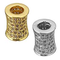 Zirkonia Micro Pave Messing Europa Bead, Zylinder, plattiert, Micro pave Zirkonia & ohne troll, keine, frei von Nickel, Blei & Kadmium, 8.50x10.50mm, Bohrung:ca. 4.5mm, 8PCs/Menge, verkauft von Menge