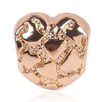 Zink Legierung Europa Perlen, Zinklegierung, Herz, goldfarben plattiert, ohne troll, frei von Blei & Kadmium, 10x11mm, Bohrung:ca. 4.5-5mm, 10PCs/Tasche, verkauft von Tasche