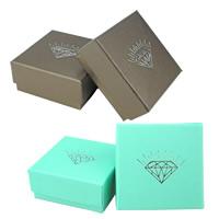 Papier Schmucksetkasten, Fingerring & Ohrring & Halskette, mit Schwamm, Quadrat, keine, 73x73x35mm, 100PCs/Menge, verkauft von Menge