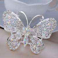 Strass Brosche, Zinklegierung, Schmetterling, silberfarben plattiert, für Frau & mit Strass, frei von Blei & Kadmium, 70x50mm, 3PCs/Tasche, verkauft von Tasche