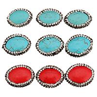 Synthetische Türkis Perle, mit Ton, keine, 23-25x16-19x6-7mm, Bohrung:ca. 1.4-1.5mm, 10PCs/Tasche, verkauft von Tasche