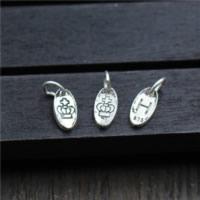 Bali Sterling Silber Anhänger, Thailand, flachoval, gemischtes Muster, 5x9.90mm, Bohrung:ca. 2mm, 20PCs/Menge, verkauft von Menge