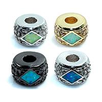 Zirkonia Micro Pave Messing Europa Bead, Rondell, plattiert, Micro pave Zirkonia, keine, frei von Nickel, Blei & Kadmium, 6x9x6mm, Bohrung:ca. 3mm, 5PCs/Menge, verkauft von Menge