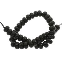 Schwarze Obsidian Perlen, Schwarzer Obsidian, Rondell, 14x9mm, Bohrung:ca. 1mm, ca. 42PCs/Strang, verkauft per ca. 15.5 ZollInch Strang