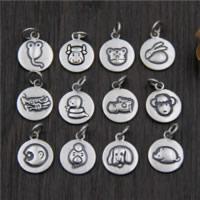 Bali Sterling Silber Anhänger, Thailand, flache Runde, gemischtes Muster, 12mm, Bohrung:ca. 2mm, 5PCs/Menge, verkauft von Menge
