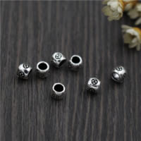 Bali Sterling Silber Perlen, Thailand, Trommel, 4.50mm, Bohrung:ca. 2.5mm, 50PCs/Menge, verkauft von Menge