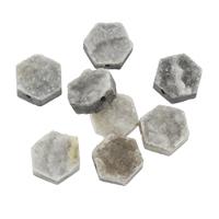 Natürliche Eis Quarz Achat Perlen, Eisquarz Achat, Sechseck, druzy Stil & verschiedene Größen vorhanden, Bohrung:ca. 1mm, verkauft von PC