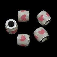 Zink Legierung Europa Perlen, Zinklegierung, Trommel, silberfarben plattiert, ohne troll & Emaille, frei von Blei & Kadmium, 10x10mm, Bohrung:ca. 5mm, verkauft von PC