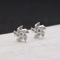 925 Sterling Silber Ohrstecker, Blume, silberfarben plattiert, 10mm, verkauft von Paar
