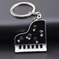 Schlüsselanhänger, Zinklegierung, mit Eisen Ring, Klavier, Platinfarbe platiniert, Emaille & mit Strass, frei von Blei & Kadmium, 38x37mm, Innendurchmesser:ca. 30mm, verkauft von Strang