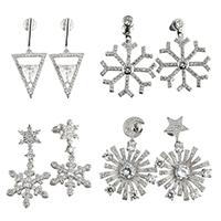 Messing Ohrring, platiniert, verschiedene Stile für Wahl & Micro pave Zirkonia & für Frau, frei von Nickel, Blei & Kadmium, verkauft von Paar