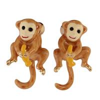 Messing Ohrstecker, Affe, goldfarben plattiert, frei von Blei & Kadmium, 14x26mm, verkauft von Paar