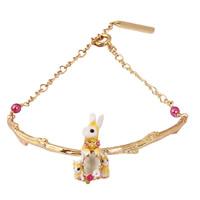 Messing-Armbänder, Messing, Hase, goldfarben plattiert, für Frau & mit Strass, frei von Blei & Kadmium, 57mm, verkauft per ca. 7.5 ZollInch Strang