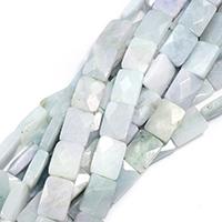 Burma Jade Perle, Rechteck, natürlich, facettierte, 19x14x6mm, Bohrung:ca. 0.5mm, ca. 22PCs/Strang, verkauft per ca. 15 ZollInch Strang