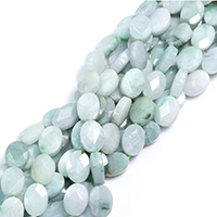 Burma Jade Perle, flachoval, natürlich, facettierte, 14x10x5mm, Bohrung:ca. 0.5mm, ca. 28PCs/Strang, verkauft per ca. 15 ZollInch Strang