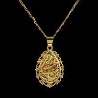 Messing Halskette, Tropfen, goldfarben plattiert, für Frau, frei von Nickel, Blei & Kadmium, 25x16x4.50mm, verkauft per ca. 16.5 ZollInch Strang
