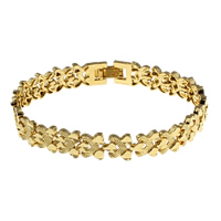 Messing-Armbänder, Messing, goldfarben plattiert, für Frau, frei von Nickel, Blei & Kadmium, 9x2mm, verkauft per ca. 7 ZollInch Strang