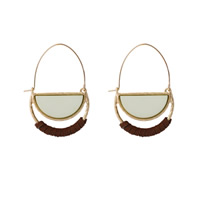 Zinklegierung Ohrringe, mit Wollschnur, goldfarben plattiert, Emaille, frei von Blei & Kadmium, 30x50mm, verkauft von Paar