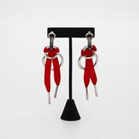 Zinklegierung Ohrringe, mit Nylonschnur, Edelstahl Stecker, Platinfarbe platiniert, frei von Blei & Kadmium, 95x30mm, verkauft von Paar