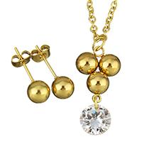 Edelstahl Schmucksets, Ohrring & Halskette, goldfarben plattiert, Oval-Kette & für Frau & mit Strass, 12x25mm, 2mm, 6mm, Länge:ca. 18 ZollInch, verkauft von setzen