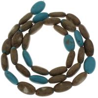 Synthetische Türkis Perle, flachoval, 11x4.50x6mm, Bohrung:ca. 1mm, ca. 35PCs/Strang, verkauft per ca. 15 ZollInch Strang