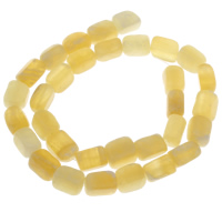 gelbe Jade Perle, Rechteck, 10x9mm-12x10mm, Bohrung:ca. 1mm, ca. 32PCs/Strang, verkauft per ca. 14.5 ZollInch Strang