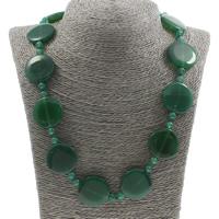 Unisex Halskette, Grüner Aventurin, Messing Karabinerverschluss, flache Runde, 22x5mm, verkauft per ca. 19.5 ZollInch Strang