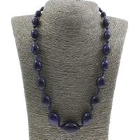 Unisex Halskette, synthetischer Lapis, Messing Federring Verschluss, 8x12mm-18x26mm, verkauft per ca. 20 ZollInch Strang