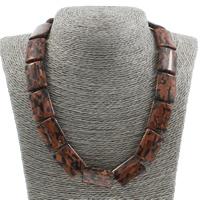 Unisex Halskette, Goldsand, Messing Karabinerverschluss, Rechteck, 18x25x6mm, verkauft per ca. 17 ZollInch Strang