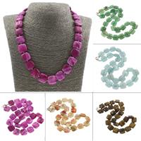 Unisex Halskette, Edelstein, Messing Karabinerverschluss, Quadrat, verschiedenen Materialien für die Wahl, 15x5mm, verkauft per ca. 20 ZollInch Strang