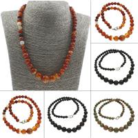 Unisex Halskette, Edelstein, Messing Karabinerverschluss, rund, verschiedenen Materialien für die Wahl, 6-12mm, verkauft per ca. 17 ZollInch Strang